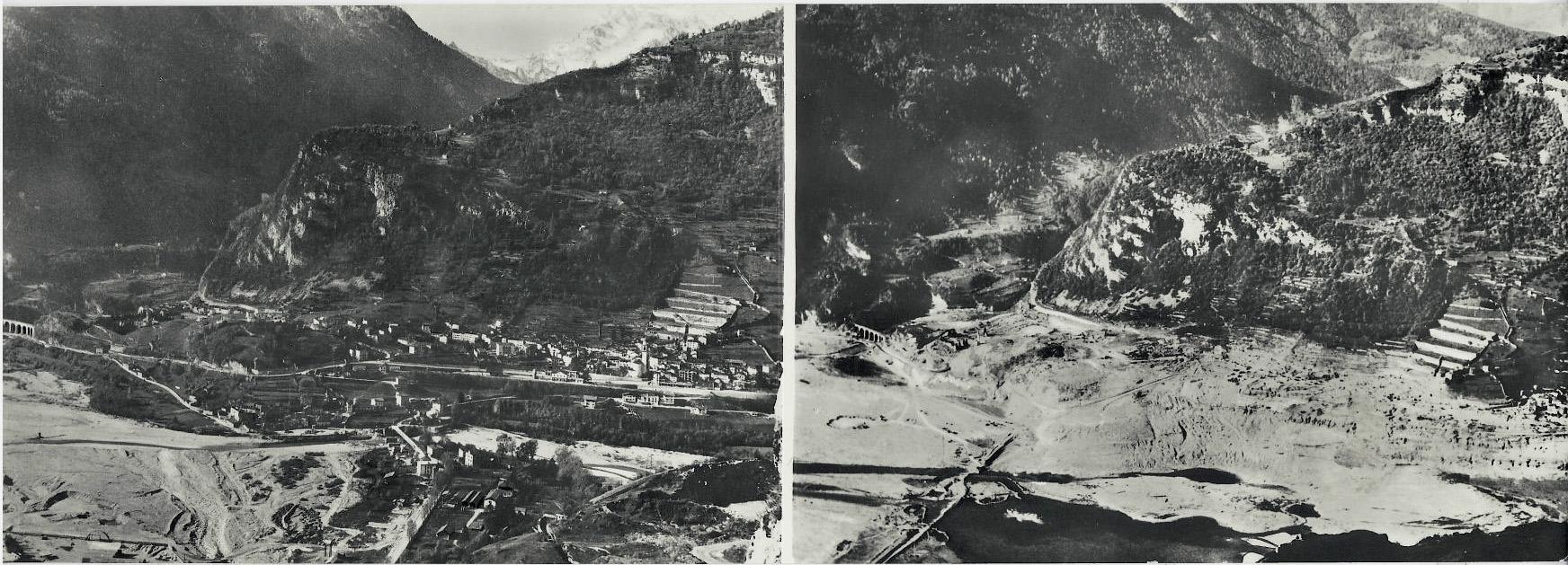 Longarone prima e dopo il disastro del Vajont.